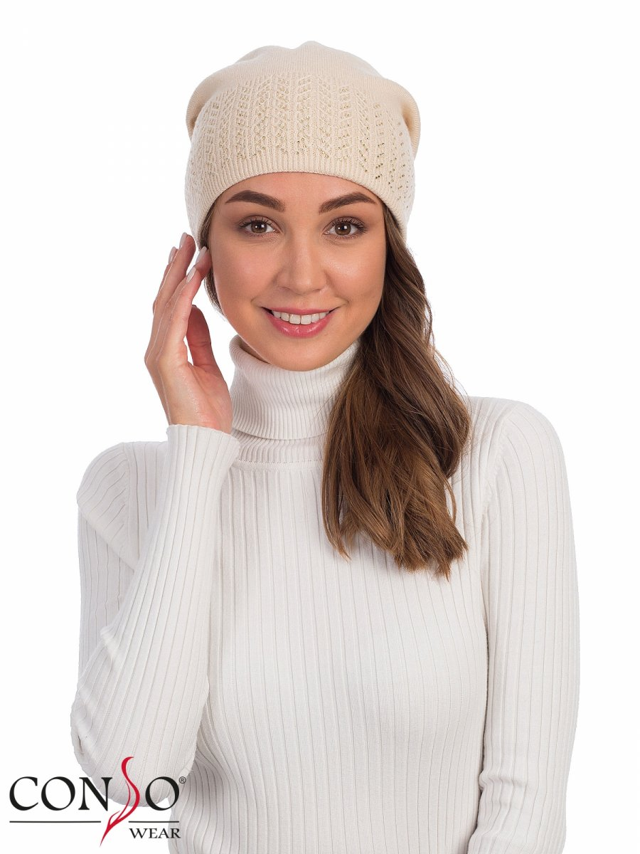 Шапка женская KHS 190304 light beige Consowear